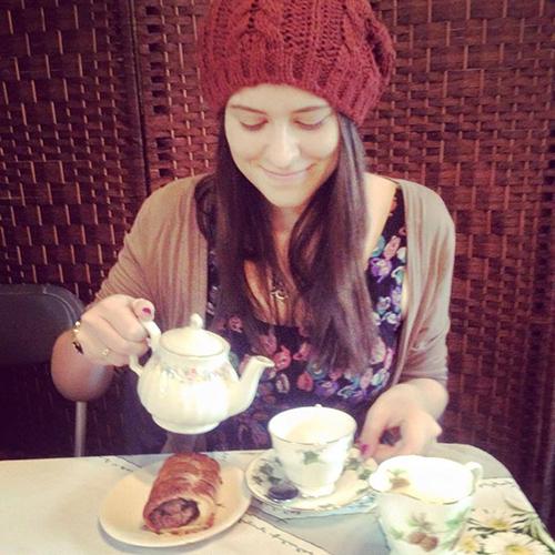 Sarah B having Tea